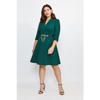 Karen Millen Curve Forever Chain Belt A Line Dress -, Green