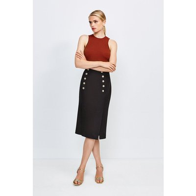Karen Millen Tailored Button Pencil Skirt -, Black
