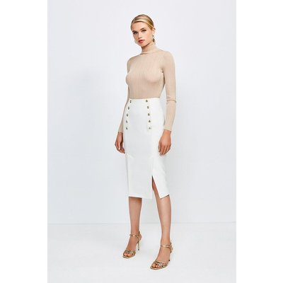 Karen Millen Tailored Button Pencil Skirt -, Ivory