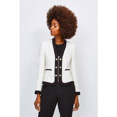 Karen Millen Zip Front Military Jacket -, White