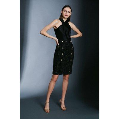 Karen Millen Sparkle Tweed Pencil Skirt -, Black