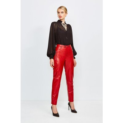 Karen Millen Leather Cargo Trouser, Red