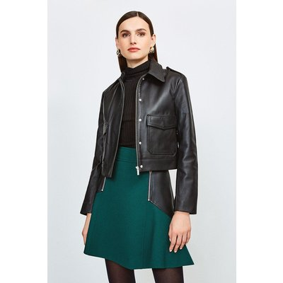 Karen Millen Leather Short Pocket Moto Jacket, Black