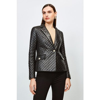 Karen Millen Leather Quilted And Jersey Blazer, Black