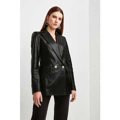 Karen Millen Leather Fitted Double Breasted Jacket -, Black