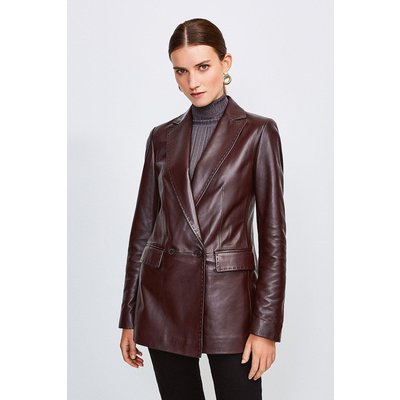 Karen Millen Leather Fitted Double Breasted Jacket, Fig