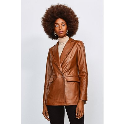 Karen Millen Leather Fitted Double Breasted Jacket, Tan