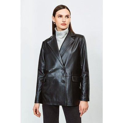 Karen Millen Leather Boyfriend Blazer, Black