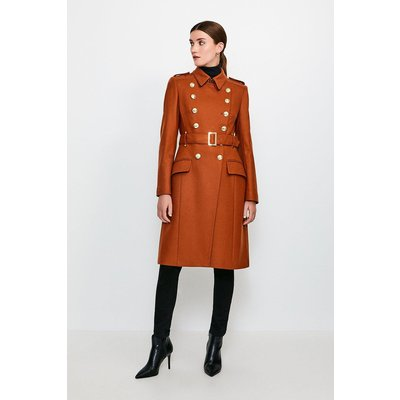 Karen Millen Longline Wool Trench, Orange