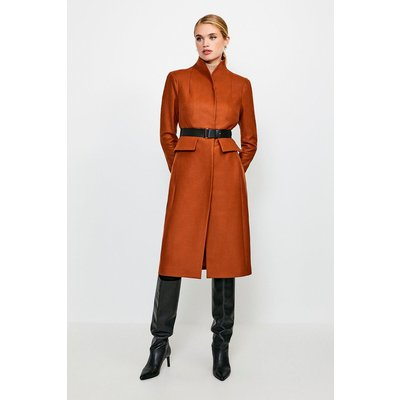 Karen Millen Feminine Belted Wool Coat, Orange