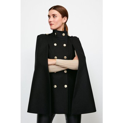 Karen Millen Military Button Cape, Black