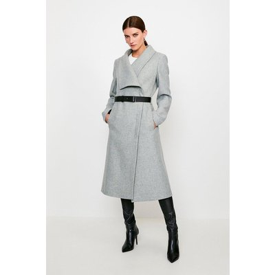 Karen Millen Belted Wrap Collar Coat, Grey