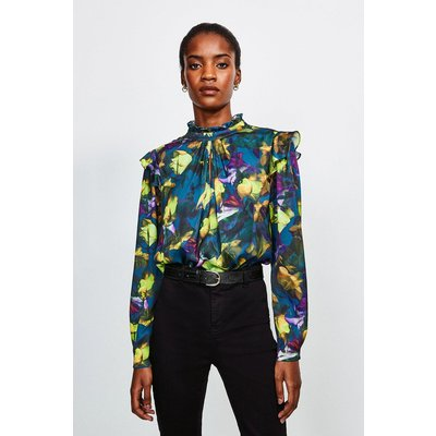 Karen Millen Neon Rose Long Sleeve Blouse -, Green