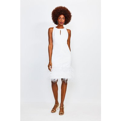 Karen Millen Feather Hem Halter Neck Dress, Ivory