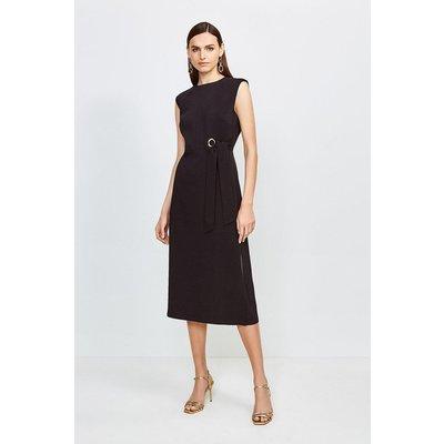 Karen Millen Eyelet Detail Midi Dress -, Black