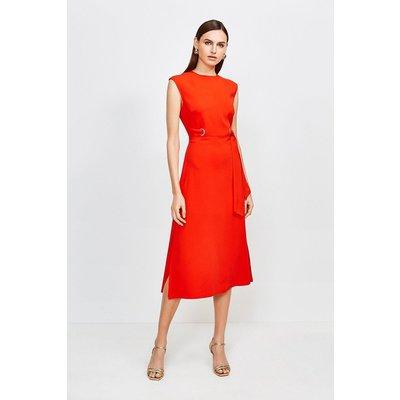 Karen Millen Eyelet Detail Midi Dress -, Red