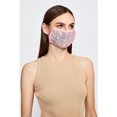 Karen Millen Fashion Sequin Face Mask -, Navy