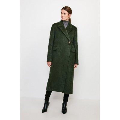 Karen Millen Texture Asymmetric Button Wrap Coat -, Green