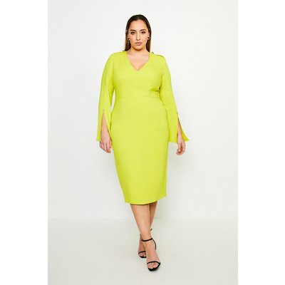 Karen Millen Curve Long Sleeve Deep V Neck Pencil Dress -, Chartreuse