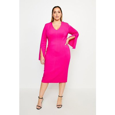 Karen Millen Curve Long Sleeve Deep V Neck Pencil Dress -, Pink