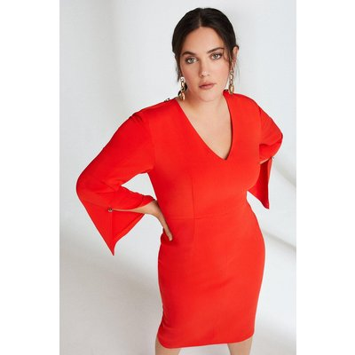 Karen Millen Curve Long Sleeve Deep V Neck Pencil Dress -, Red