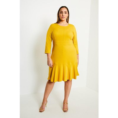 Karen Millen Curve Long Sleeve Ruffle Hem Dress -, Yellow