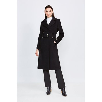Karen Millen Minimal Military Wool Blend Coat, Black