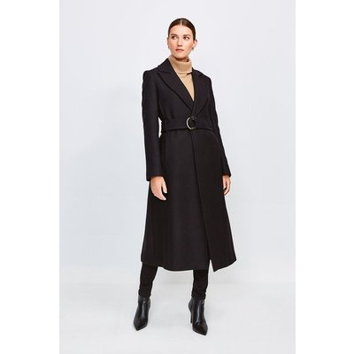 Karen Millen Ring Belted Classic Wool Coat, Black
