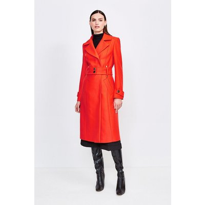 Karen Millen Wool Blend Popper Detail Coat, Orange