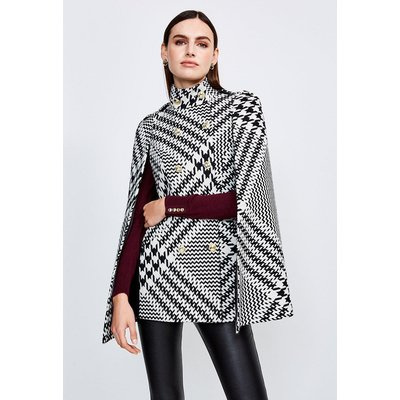 Karen Millen Oversized Check Military Button Cape, Mono