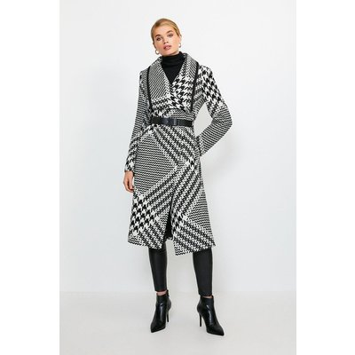 Karen Millen Oversized Check Belted Coat, Mono