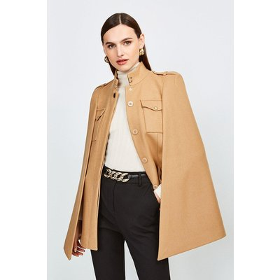 Karen Millen Military Wool Melton Cape, Camel
