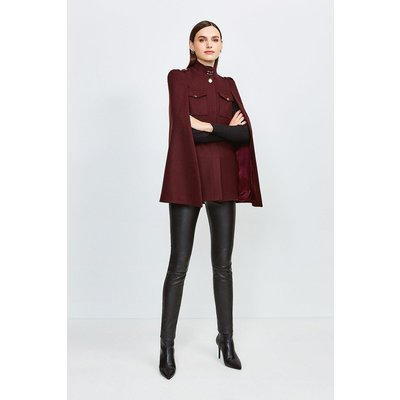 Karen Millen Military Wool Melton Cape, Red