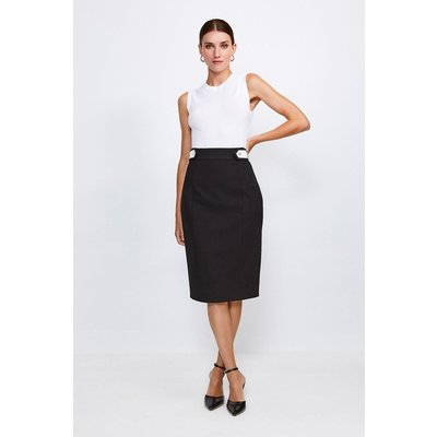 Karen Millen Contrast City Stretch Twill Tab Pencil Skirt -, Black