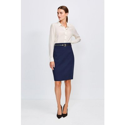 Karen Millen City Stretch Twill Pencil Skirt -, Navy