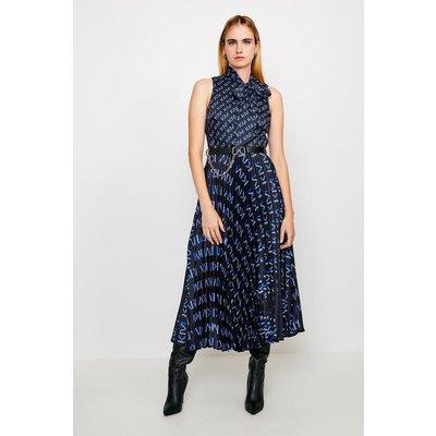 Karen Millen Logo Tie Neck Pleat Midi Dress -, Navy