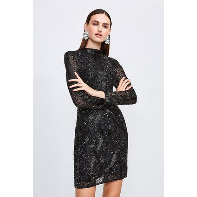 Karen Millen Beaded And Sequin Hi Neck Dress, Black