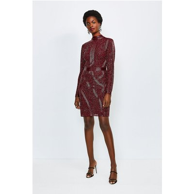 Karen Millen Beaded And Sequin Hi Neck Dress, Maroon