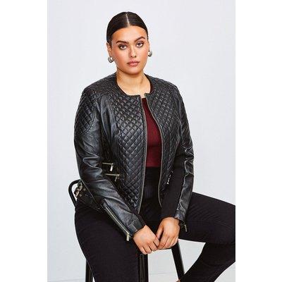 Karen Millen Curve Leather Quilted Jacket -, Black