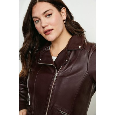 Karen Millen Curve Leather Signature Biker Jacket -, Fig