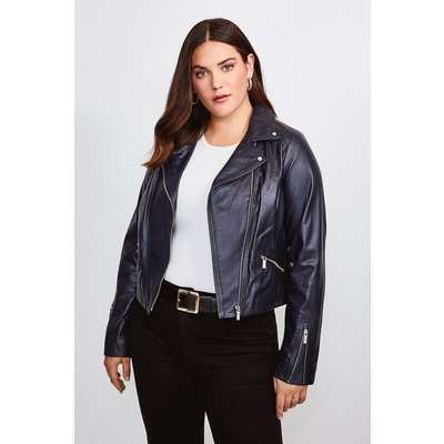 Karen Millen Curve Leather Signature Biker Jacket, Navy