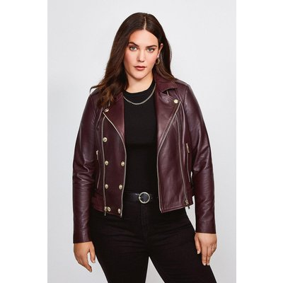 Karen Millen Curve Leather Military Biker, Fig