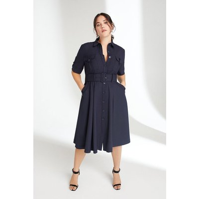 Karen Millen Curve Polished Stretch Wool Blend Utility Dress -, Navy