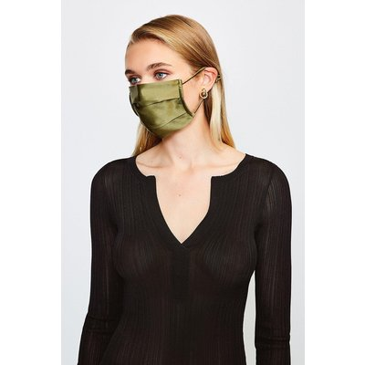 Karen Millen Fashion Silk Face Mask Covering -, Khaki/Green
