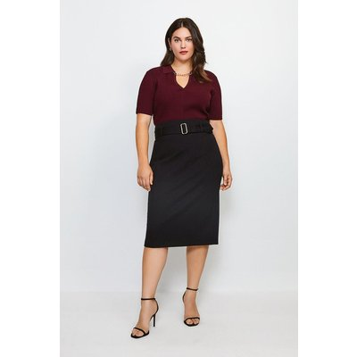 Karen Millen Curve Ponte Belted Pencil Skirt -, Black