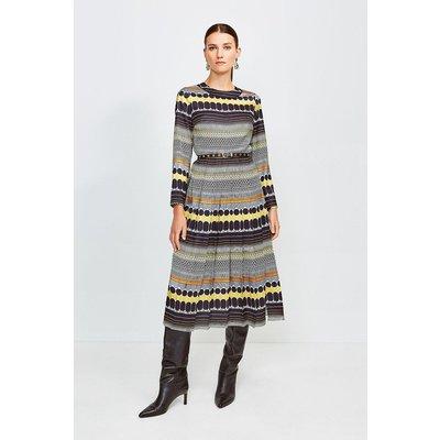 Karen Millen Geo Stripe Pleat Midi Dress -, Yellow