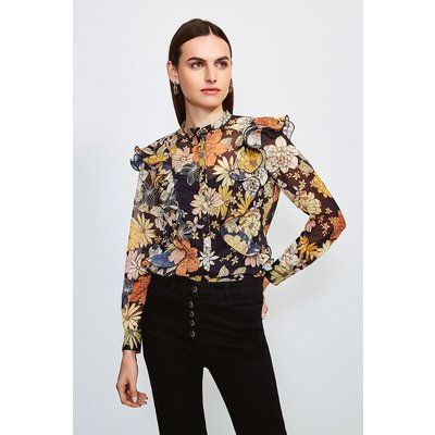 Karen Millen Floral Buttoned Blouse With Ruffle Detail -, Black
