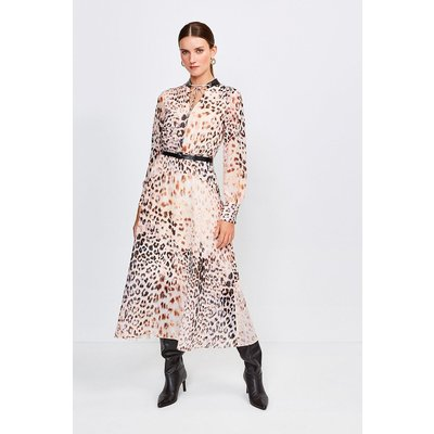 Karen Millen Leopard And PU Trim Midi Dress -, Brown