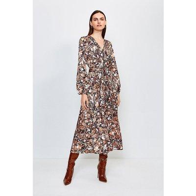 Karen Millen Textured Marble Print Midi Dress With Belt -, Brown