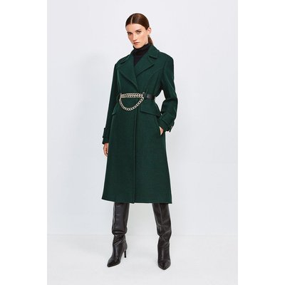 Karen Millen Chunky Chain Wool Coat, Bottle Green